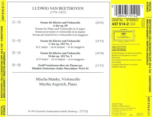 Beethoven: Cello Sonatas Op. 69 & 102; Variations