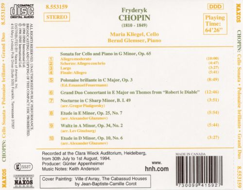 Chopin: Cello Sonata; Polonaise Brillante; Grand Duo