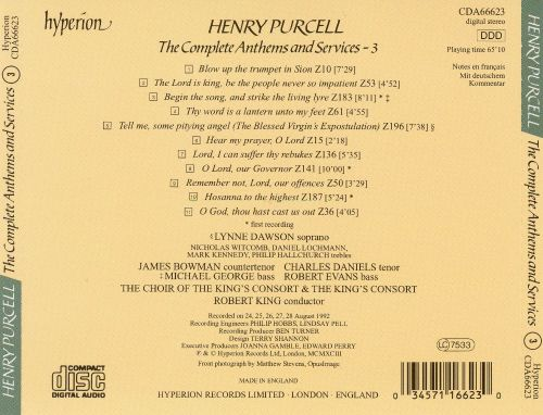 Purcell: The Complete Anthems and Services, Vol. 3
