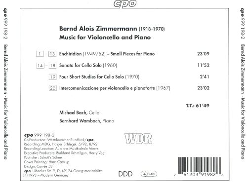 Bernd Alois Zimmermann: Music for Cello and Piano