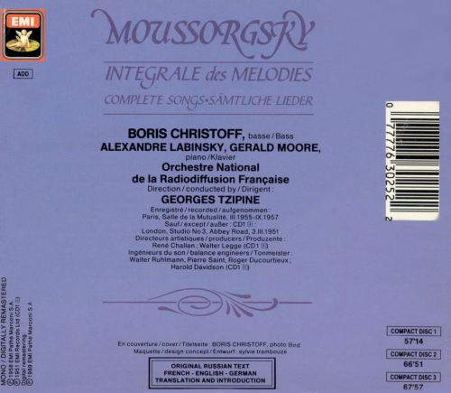 Moussorgsky: Complete Songs