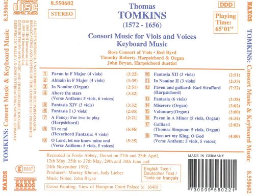 Tomkins: Consort Music for Viols and Voices; Keyboard Music