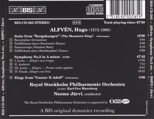 Hugo Alfvén: Symphony No. 5; Suite from 'Bergakungen'; Elegy from 'Gustav II Adolf'