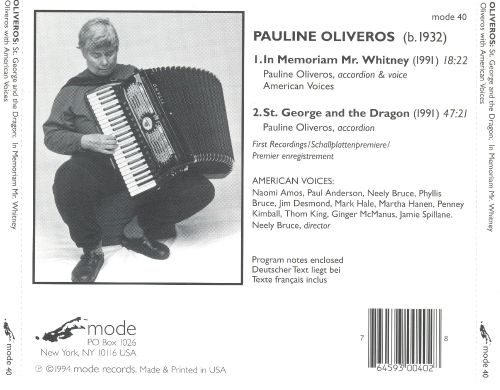 Pauline Oliveros: St. George and the Dragon; In Memoriam Mr. Whitney