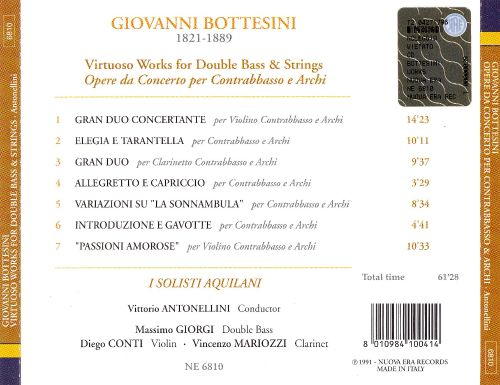 Giovanni Bottesini: Works for double bass & strings