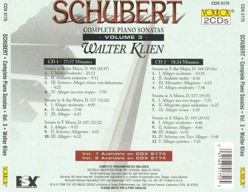 Schubert: Complete Piano Sonatas, Vol. 3