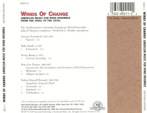 Winds of Change: American Music for Wind Ensemble from 1950s to the 1970s