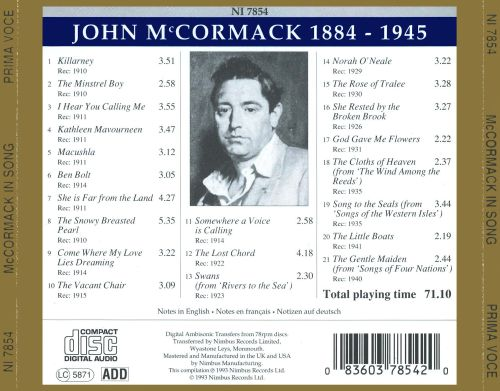 McCormack In Song