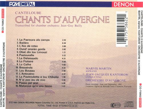 Canteloube-Bailly: Chants d'Auvergne