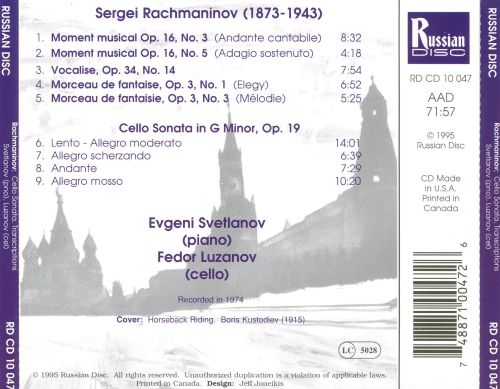 Rachmaninov: Cello Sonata; Five Transcriptions