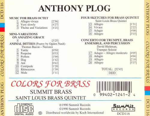 Anthony Plog: Colors for Brass