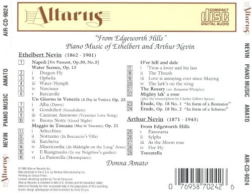 From Edgeworth Hills: Piano Music of Ethelbert and Arthur Nevin