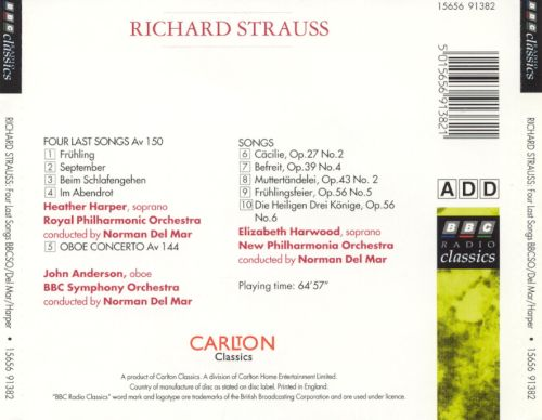 Richard Strauss: Four Last Songs; Oboe Concerto; Lieder