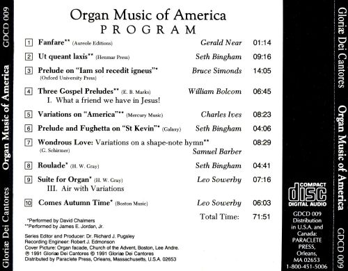 Organ Music of America, 1891-1991