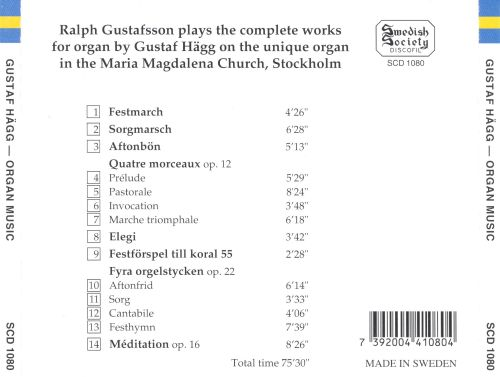 Gustaf Hägg: The Complete Works for Organ