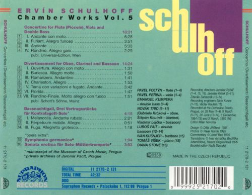 Schulhoff: Concertino; Divertissement, Bassnachtigali; etc.