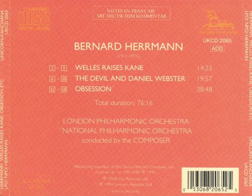Bernard Herrmann: Welles Raises Kane; The Devil & Daniel Webster; Obsession
