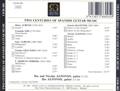 Two Centuries of Spanish Guitar Music