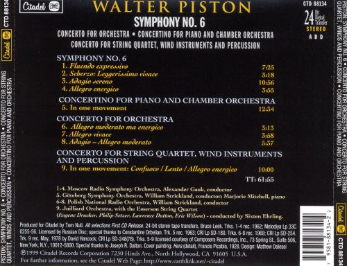 Walter Piston: Symphony No. 6; Concerto for Orchestra; Concertino for Piano and Orchestra