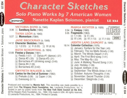 Character Sketches: Solo Piano Works by 7 American Women