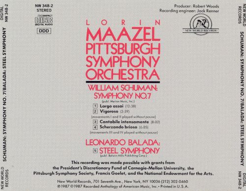 William Schuman: Symphony No. 7; Leonardo Balada: Steel Symphony