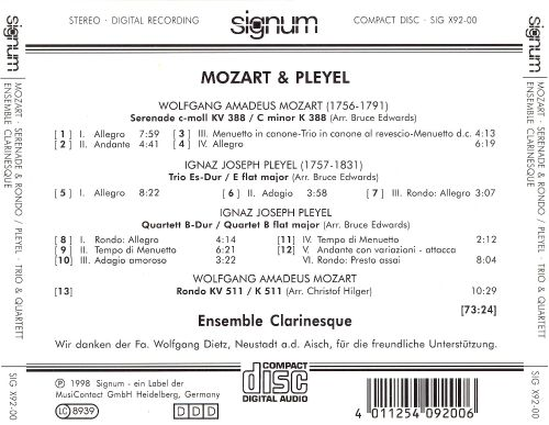 Ensemble Clarinesque Plays Mozart & Pleyel