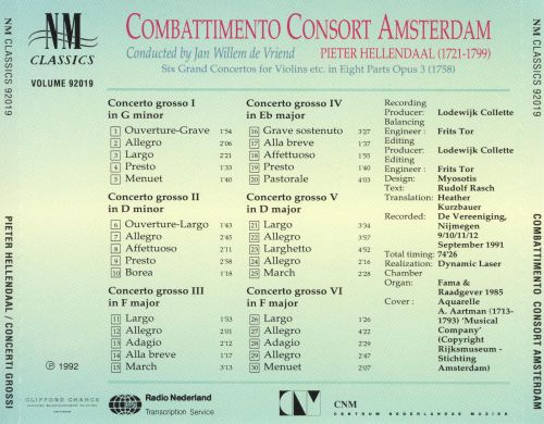 Hellendaal: Six Grand Concertos for Violins, etc. in Eight Parts, Opus 3