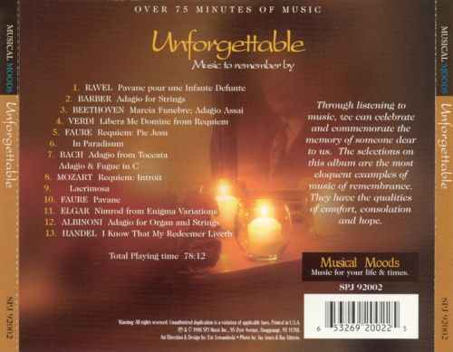 Unforgettable: Music to Remember By