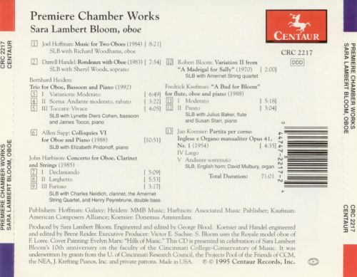 Premiere Chamber Works