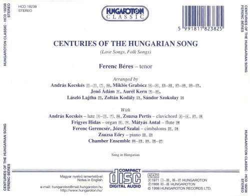 Centuries of the Hungarian Song: Love Songs, Folk Songs
