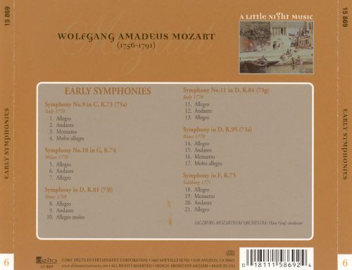 A Little Night Music, Vol. 6: Mozart - Early Symphonies