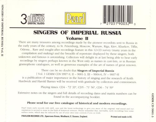 Singers of Imperial Russia, Vol. 2