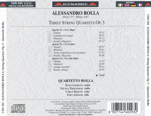 Rolla: Three String Quartets, Op. 5