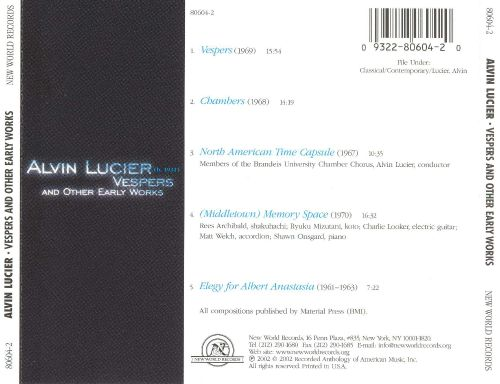 Alvin Lucier: Vespers and Other Early Works