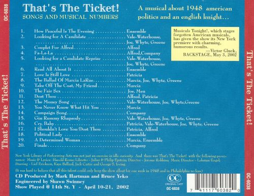 That's the Ticket! (Songs and Musical Numbers)