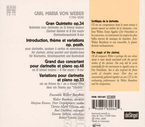 Carl Maria von Weber: Gran Quintetto; Variations; Grand duo concertant