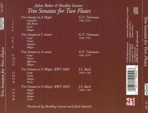 Telemann, Bach: Trio Sonatas for Two Flutes