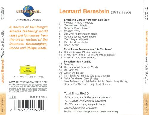 Bernstein: Symphonic Dances from West Side Story; Three Dance Episodes from On The Town; Candide (Selections)