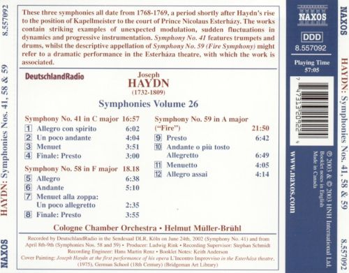 Haydn: Symphonies Nos. 41, 58 and 59
