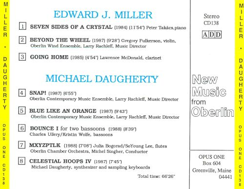 New Music from Oberlin: Edward J. Miller and Michael Daugherty