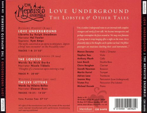 Richard Harvey: Love Underground; Christopher Gunning: The Lobster; Wilfred Josephs: Twelve Letters