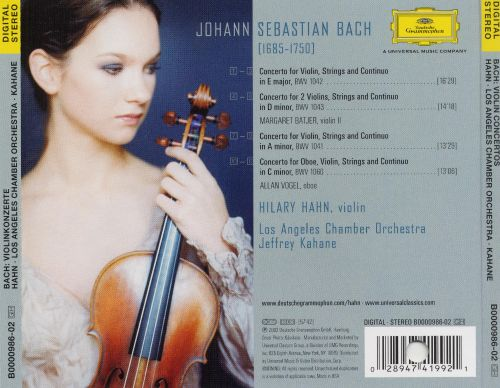 Bach: Concertos - Hilary Hahn, Jeffrey Kahane | Songs, Reviews ...
