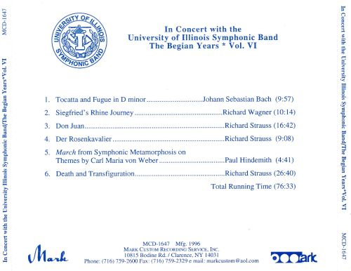 In Concert with the University of Illinois Symphonic Band: The Begian Years, Vol. 6