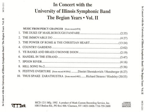 In Concert with the University of Illinois Symphonic Band: The Begian Years, Vol. 2