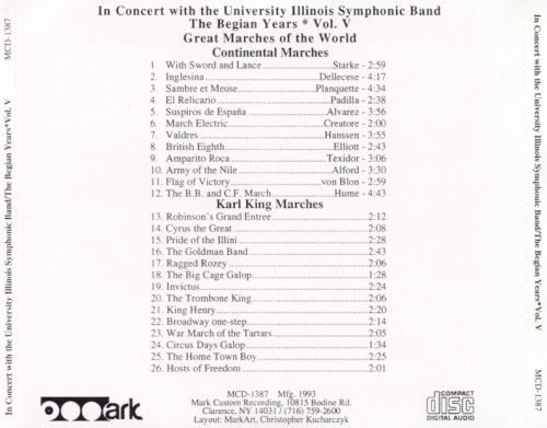 In Concert with the University of Illinois Symphonic Band: The Begian Years, Vol. 5