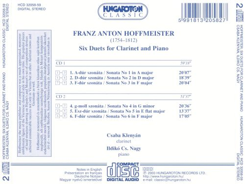 Franz Anton Hoffmeister: Six Duets for Clarinet and Piano