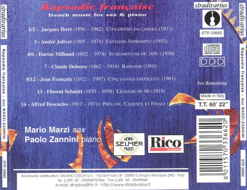 Rapsodie Française: French Music for Saxophone & Piano