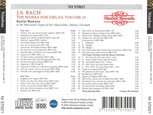 J.S. Bach: The Works for Organ, Vol. 15  - The Rinck Chorales