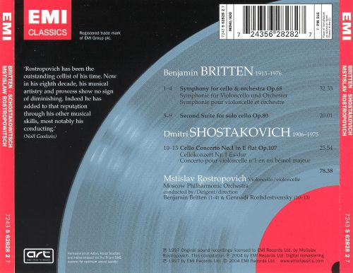 Britten: Cello Symphony; Cello Suite No. 2; Shostokovich: Cello Concerto No. 1