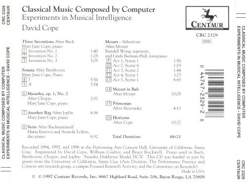 Classical Music Composed by Computer: Experiments in Musical Intelligence by David Cope